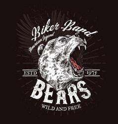 wild bear roaring biker club t-shirt print vector image