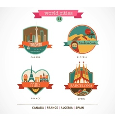 World Places - Paris Toronto Barcelona Sahara vector
