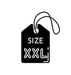 Xxl size label black glyph icon garments vector
