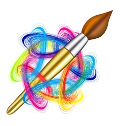 artists palette and brush vector image vector image