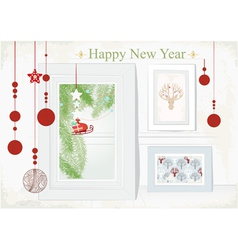 Christmas Card with themed interior vector image vector image
