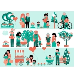 Family People Set with Landscaping Elements vector image vector image