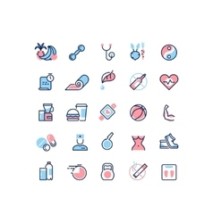 Healthy life and fitness line icons vector image