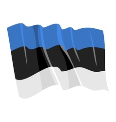 political waving flag of estonia vector image vector image