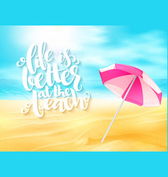 summer travel banner with sun umbrella and vector image vector image