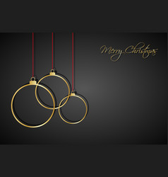 three golden christmas balls with red strings vector image