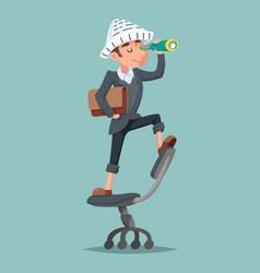 adventurer hat newspaper businessman mascot pirate vector image