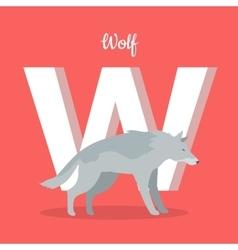 Animals Alphabet Letter - W vector image