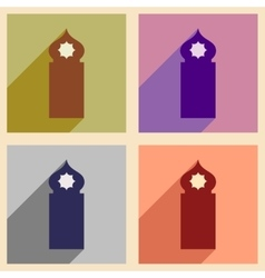 Concept flat icons with long shadow arab tower vector