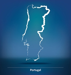 Doodle Map of Portugal vector image