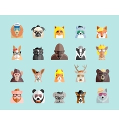 Flat style hipster animals avatar portraits vector