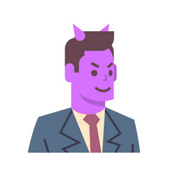 Male devil emotion icon isolated avatar man facial vector