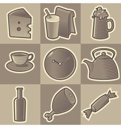 Monochrome food icons vector image