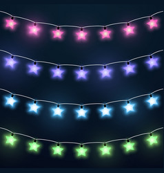 set of colorful star garlands vector image vector image