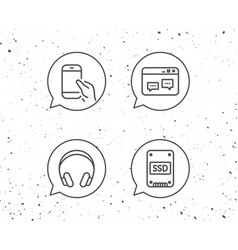 ssd disk headphones and hold smartphone icons vector image vector image