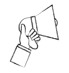 hand with megaphone sound isolated icon vector image