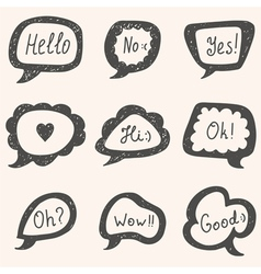 Set of speech bubbles Hand drawn bubbles vector image