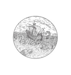 tall ship turbulent sea serpents black and white vector image