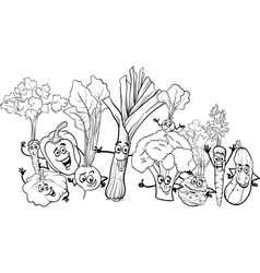 cartoon vegetables for coloring book vector image