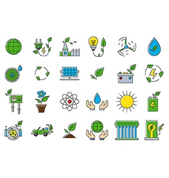 Colorful eco icons set vector image vector image