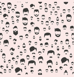 hipster retro hair style seamless pattern vector image