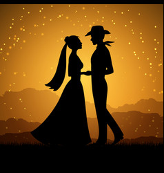 silhouettes of young woman and cowboy man vector image