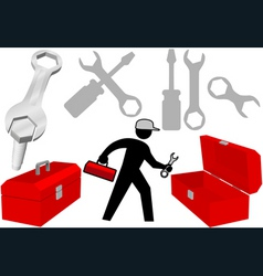 Tool set repair work person objects icons vector