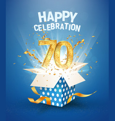 70 th years anniversary and open gift box vector