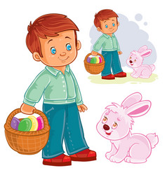 a little boy with a basket vector image
