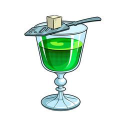 absinthe green alcohol drink pop art vector image