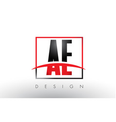 Ae a d logo letters with red and black colors vector