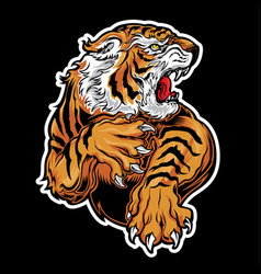 Animals angry tiger drawing yellow red vector