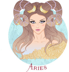 Astrological sign of Aries as a beautiful girl vector image