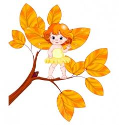 autumn baby fairy vector image