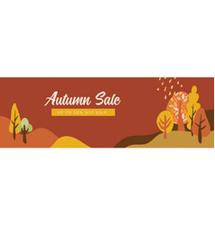 autumn landscapes banner and wallpaper for social vector image