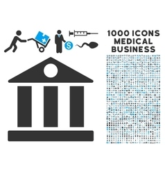 Bank Building Icon with 1000 Medical Business vector image