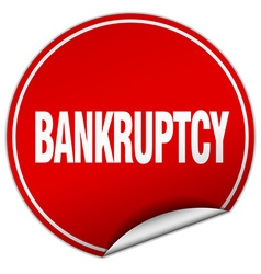 Bankruptcy round red sticker isolated on white vector