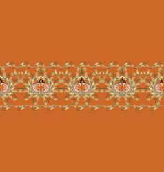baroque 3d flowers seamless border floral vector image