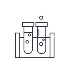beakers line icon concept beakers linear vector image