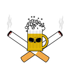 Beer and cigarettes alcohol and smoking sign logo vector