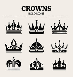 black crown bold icons set vector image