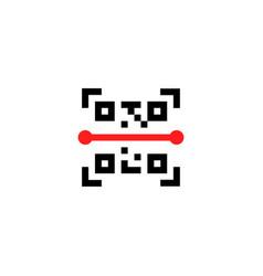 black qr code scan minimal badge vector image