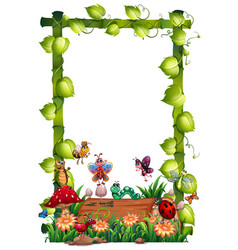 Blank wood frame template with animal garden set vector