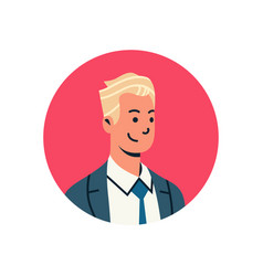 Blond businessman avatar man face profile icon vector