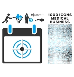 Bullseye Calendar Day Icon With 1000 Medical vector