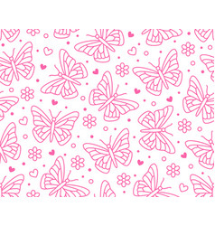 butterfly seamless pattern flying insects vector image