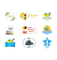 Cartoon alternative medicine badges or labels set vector