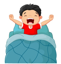 Cartoon children wake up vector