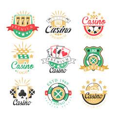 casino premium logo design set colorful vector image
