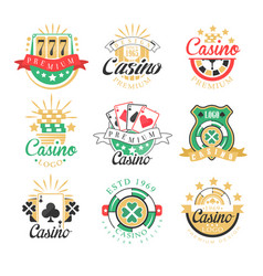 Casino premium logo design set of colorful vector
